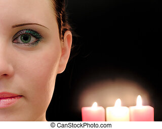 woman and candles - half woman face with the three candles