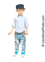 Modern model toddler boy posing isolated on white background
