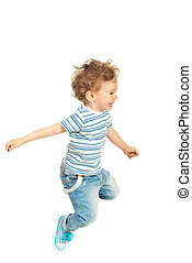 Happy kid boy jumping - Happy toddler boy jumping isolated...