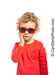 Kid boy with sunglasses - Blond kid with sunglasses holding...