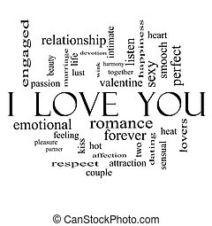 I Love You Word Cloud Concept on in Black and White - I Love...