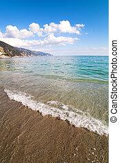 Waves at italian coast. - Meediterranean sea waves, Liguria,...
