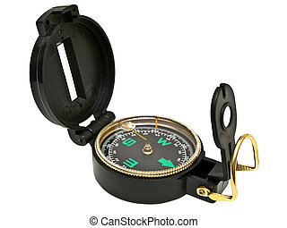 Single compass against the white background