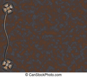 border in rusty metallic style - Illustration border in...