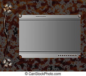 border in rusty metallic style - illustration in rysty...