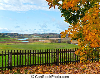 autumn in rural place - view from the hill on the autumn...