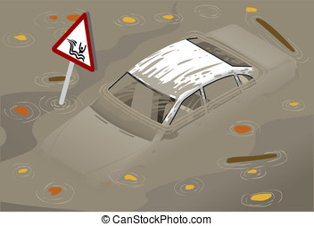 Isometric White Car Flooded