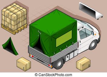 isometric white van with tarpaulin - detailed illustration...