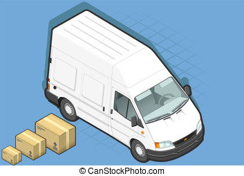 isometric white van in front view - detailed illustration of...