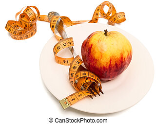 apple, fork and centimeter