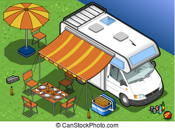 isometric camper in camping - detailed illustration of a...