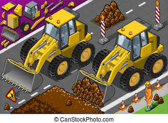 Isometric Yellow Bulldozerin front view - Detailed...