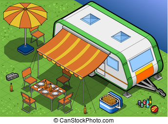 Isometric Roulotte in Camping in front view - detailed...