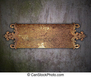 Old rust metal nameplate on a old wall Design element