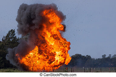 Explosion with flying debris  - Explosion with flying debris