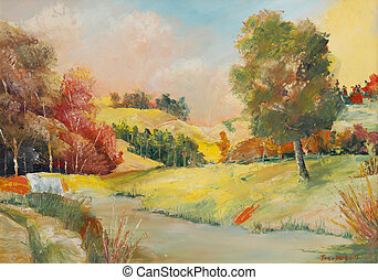 Oil Paintings - Oil canvas paintings, landscapes scene, this...
