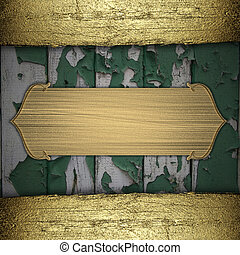 Green wooden background with gold texture stripe layout....