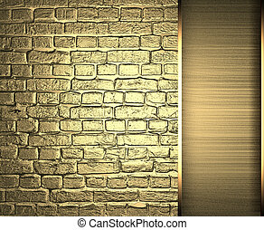 Brick wall is made of gold with gold ribbon Design template...