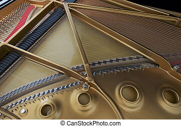 Harp and Soundboard of Grand Piano - Interior Harp and...