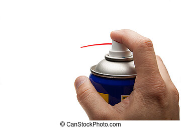 hand pushing spray can isolated over white background