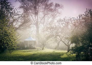 Pavilhão, jardim