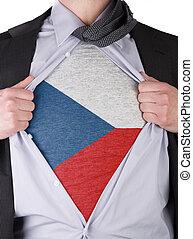Business man with Czechian flag t-shirt