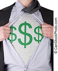 Business man with dollar sign t-shirt - Business man rips...