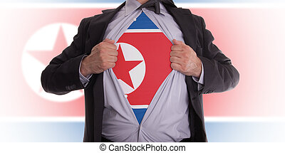 Business man with North Korean flag t-shirt