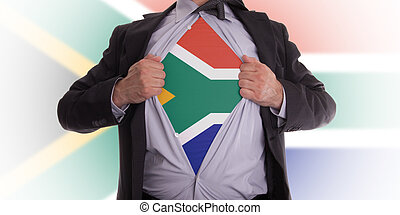 Business man with South African flag t-shirt