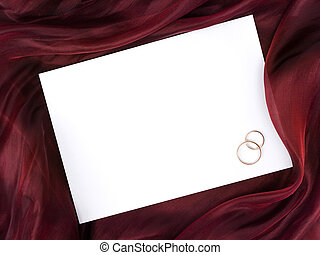 white frame in silk and two wedding rings - Silk with white...