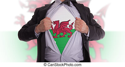 Business man with Welsh flag t-shirt - Business man rips...