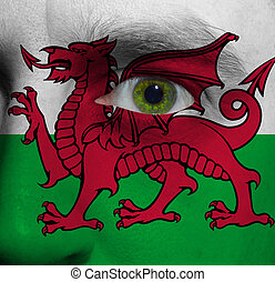 face with the Welsh flag painted on it - close-up of a face...