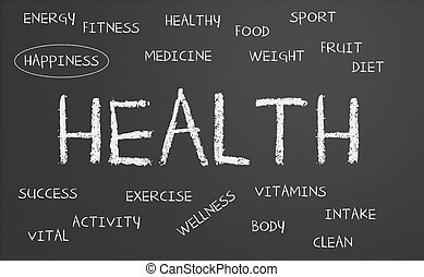health word cloud written on a chalkboard