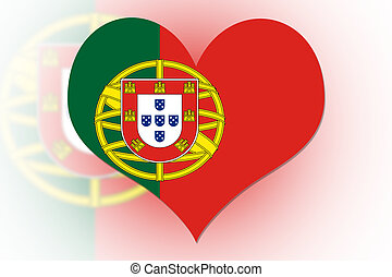 Portuguese Flag heart - Portuguese Flag in the shape of a...
