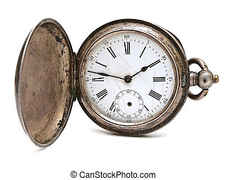 old pocket clock against the white background