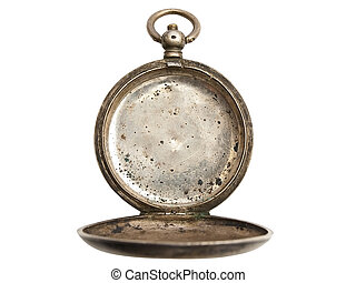 without clock - old pocket clock without clock dial against...