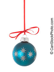 Blue christmas ball hanging on a red ribbon on white...