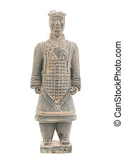 Terra-cotta warrior isolated on white background.