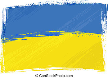 Grunge Ukraine flag - Ukraine national flag created in...