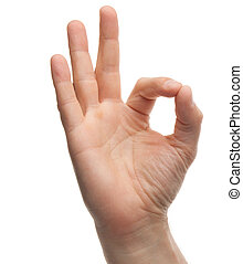 Hand OK sign on white background