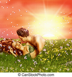 Loving fairy couple in grass, spring - Fantasy romantic...