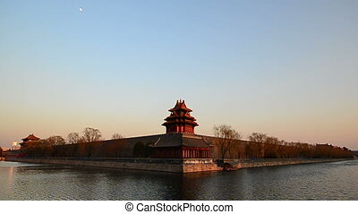 watch tower sunset - watch tower of the forbidden palace