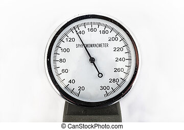analog sphygmomanometer with white background