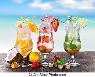 verão, bebidas, praia