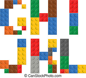Playing brick toy alphabet letters G-L