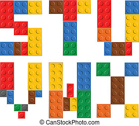 Playing brick toy alphabet letters S-X