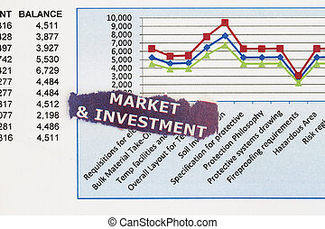 Market and Investment concept with graph and numbers
