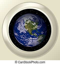 Earth and space in window - Space ship round window porthole...