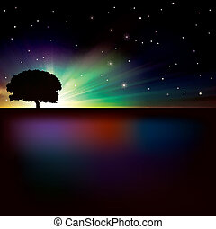 abstract background with sunrise and tree - abstract nature...