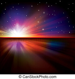 abstract background with sun and stars - abstract space...